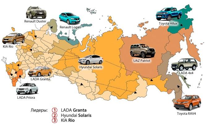 Назван топ-3 самых покупаемых в Красноярске за год авто