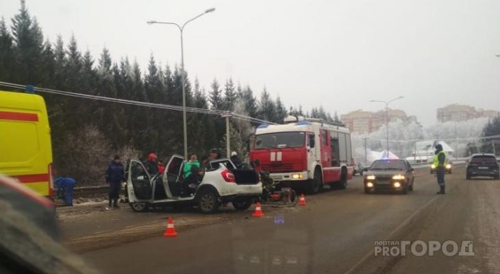 "На Ядринском шоссе при столкновении Kia с ""Калиной"" погибла женщина"