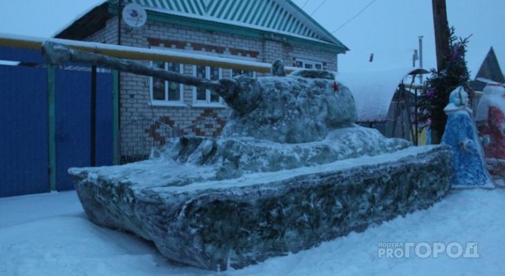 Жительница Красночетайского района слепила из снега советский танк