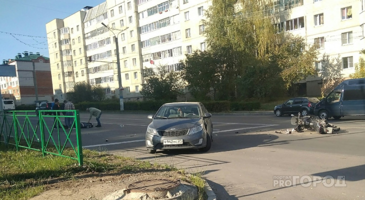 В Новочебоксарске в ДТП с «Киа» пострадал водитель мотоцикла