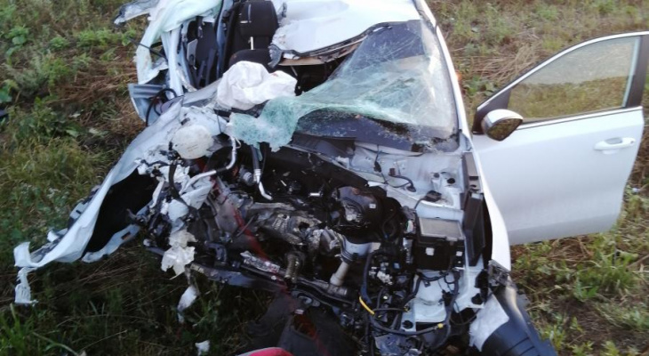 В Батыревском районе кроссовер обгонял машины и врезался в КамАЗ: пострадали трое