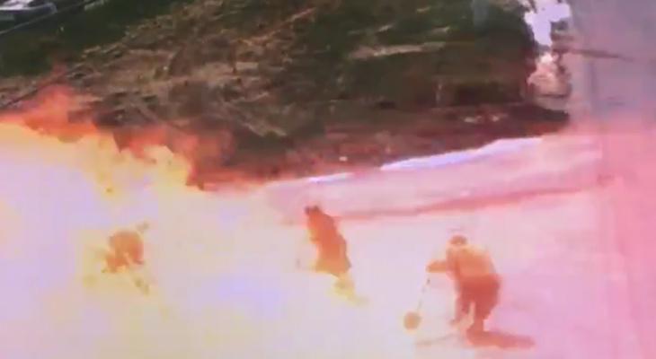 Появился момент взрыва газопровода в Чебоксарах: несколько человек получили небольшие ожоги
