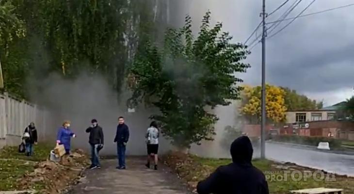 В Чебоксарах произошла авария: фонтан воды бьет из земли